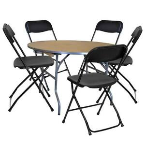 5 Black Plastic Folding Chair 36 Round Table Wedding Office Banquet Furniture
