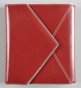 Franklin Covey Classic 7 Ring Planner Burgundy White Trim Leather Incomplete