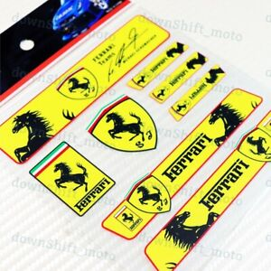 8pcs Small Reflective Decal Sticker Set Car Door Window Vinyl For Ferrari Resin