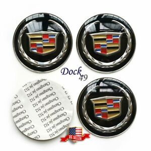 4pcs 65mm 2 55 Black Cadillac Car Wheel Center Hub Cap Sticker Fit Ats Cts Xt5