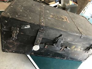 Antique Steamer Trunk Vintage Victorian Flat Top Wooden Immigrant Travel Chest