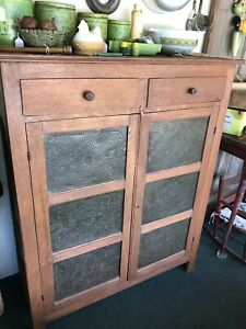 Late 1800 S Antique Primitive Pie Safe Punched Tin Cabinet Cupboard