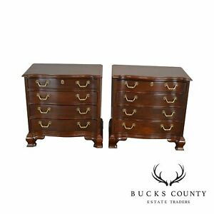 Wellington Hall Chippendale Style Pair Mahogany Chests Nightstands