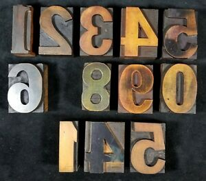 Antique 2 5 Inch Wood Type Letterpress Numbers Missing 7 Duplicate 5 4