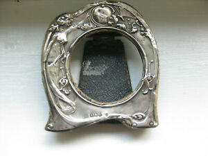 1909 Antique Art Nouveau Sterling Silver Frame