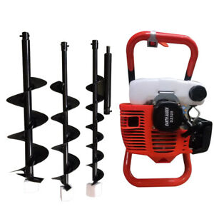 52cc Gas Powered Single Cylinder Engine Post Hole Digger Earth Auger With 3 Bits