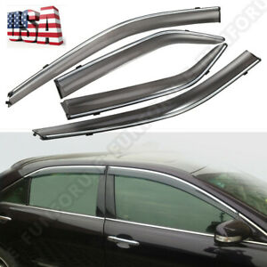 Chrome Trim Smoke Tinted Window Visor For 2012 2017 Toyota Camry Sedan 4 Doors