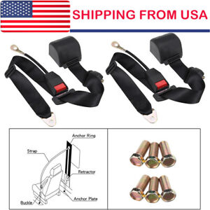 2 Set Universal Adjustable Retractable 3point Safety Auto Car Seat Belt Lap Belt
