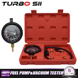Fuel Pump And Engine Vacuum Pressure Gauge Leak Diagnostic Tool Tester Kit Case