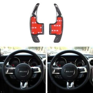 Real Carbon Fiber Steering Wheel Shift Paddle Fit For Ford Mustang 2015 2019
