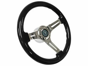 1967 1968 Pontiac Lemans Gto S6 Black Ash Wood Steering Wheel Chrome Kit