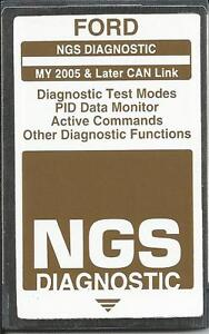 Ford Ngs Diagnostic 2005 Later Can brown Card