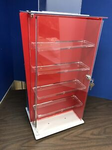 Acrylic Countertop Display Security Case Rotator 2 Sided With 8 Shelves