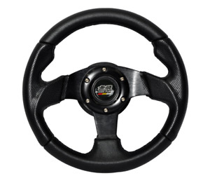 Universal Fit 280mm 11inch Jdm Black Steering Wheel Pvc Leather Aluminum Horn