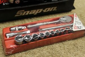 New Snap On 14pc 1 4dr Std sae 6pt Shallow General Service Socket Set 114atmp