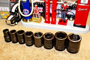 Snap On Tools 8 Pc 1 2 Drive 6 Point Shallow Impact Socket Set 7 16 Thru 1in