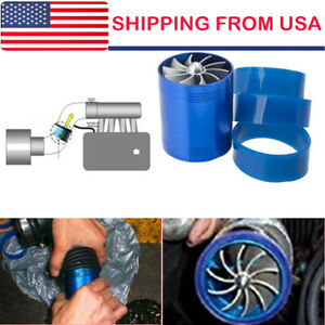 Double Air Intake Turbine Turbo Supercharger Gas Fuel Saver Fan Charger Hot New