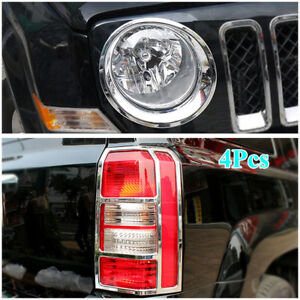 Fit For Jeep Patriot 2011 2017 Chrome Front rear Light Lamp Cover Trim Frame
