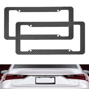 2pcs Carbon Fiber License Plate Frame For Toyota Tundra Rav4 Camry Tacoma Yaris