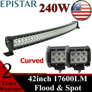 Curved 42inch 240w Led Work Light Bar With 18w Cube Ranger Utility Boat Roof Suv