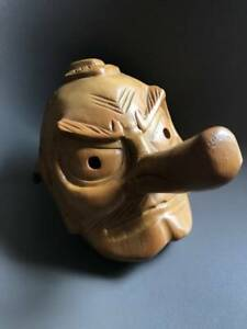 Japanese Old Wooden Tengu Noh Mask Men Omen Antique Kyogen Japan Japanese