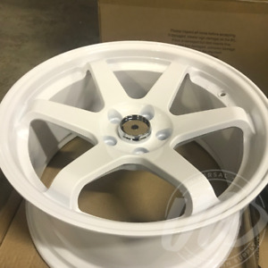 New 18 Inch X 8 9 Te37 Style Staggered Wheels Rims 5 Lug White Set Of 4