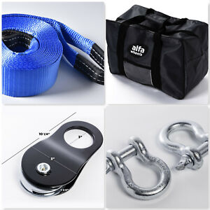 30ft 4wd Suv Truck Winch Recovery 10t Kit Tow Strap pulley bow Shackle bag