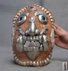 A Antique Silver Red Coral Mask Tibet Nepal Made By Tibetan Monks