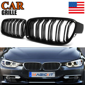Gloss Black Dual Slat Front Kidney Grille Grills For Bmw F30 F31 328i 335i 12 18