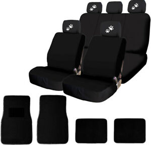 For Ford New 4x White Paws Logo Headrest Black Fabric Seat Covers And Mats