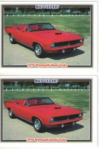 1970 Plymouth Cuda 426 Hemi Convertible Cards Must See Lot Of 2