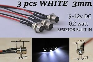 12 Volt Indicator Lights White Panel Led Dash Motorcycle Pilot Signal Bulb 3mm