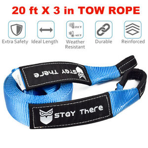 3 Tow Strap 20ft Winch Off Road Snatch Recovery Towing Rope 30k Lbs Us 15t