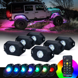Rgb Off Road Led Rock Lights Victory Series Remote Control For Jeep Atv Utv 6pcs