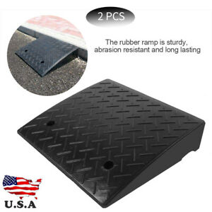 2pcs Heavy Duty Rubber Curb Ramps For Car Vehicle Motorbike Wheelchair Ramp