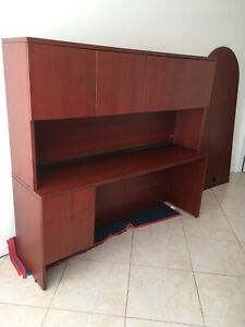 Executive Office Desk 3 Parts Cherry 2 Drawers Desk Hutch Table