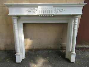 Antique Carved 1 4 Sawn Oak Fireplace Mantel 60 X 50 Architectural Salvage