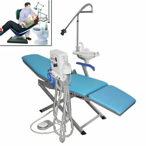 Portable Folding Chair Moblie Unit With Led Surgical Light Lamp Dental Tray Us