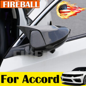 Pair For Honda Accord 2018 2019 Carbon Fiber Ox Horn Rear View Mirror Cover Trim