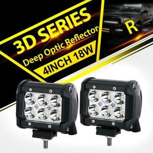 Pair 4 Inch 18w Led Work Light Bar Cube Pod Offroad Fog Lamp 4wd Suv Atv Pickup