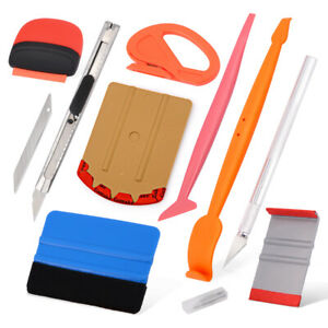 9in1 Car Window Tint Vinyl Wrap Tool Kit Film Install Micro Squeegee Knife Blade