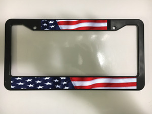 American Flag America Us Usa Patriotic Freedom Black License Plate Frame New