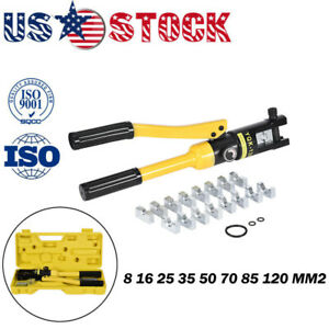 10 Ton Hydraulic Crimper Crimping Tool W 9 Dies Wire Battery Cable Lug Termina