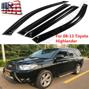 Window Visor Sun Rain Guard Vent Shade 4pcs Set For Toyota Highlander 2008 2013