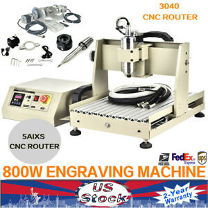 New 800w 5axis Usb 3040 Cnc Router Engraver Engraving Milling Carving Machine Us
