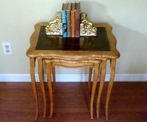 Set 3 Antique Nesting Tables French Provencial Blonde Wood Leather Top Free Ship