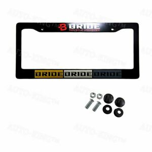 Jdm Bride Black Abs License Plate Frame With Caps For Honda Civic Acura 1pcs