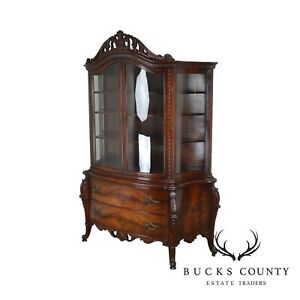 French Louis Xv Style Vintage Custom Flame Mahogany Bow Glass China Cabinet