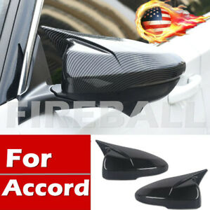 For 2018 2019 Accord Jdm Carbon Fiber Style Ox Horn Rear View Mirror Cover Tirm