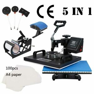 5 In 1 Heat Press Machine Swing Away Sublimation T shirt Mug Plate Hat W Paper